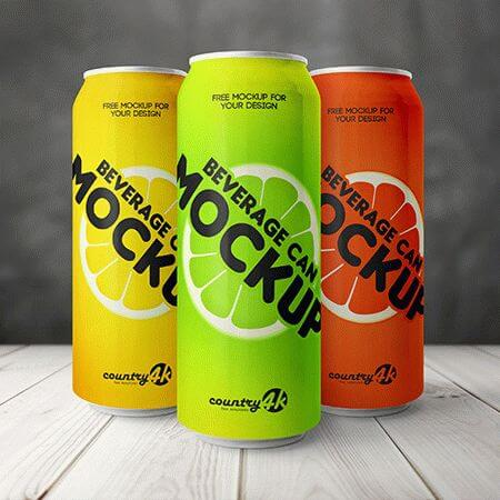 Free PSD MockUp for Beverage Can