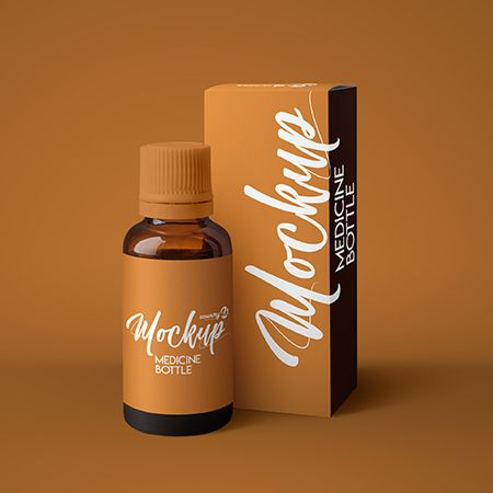 Free Amber Medicine Bottle MockUp in 4k