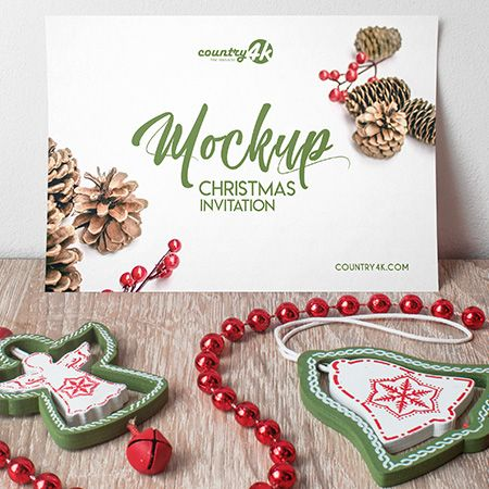 Free Christmas Invitation PSD MockUp in 4k