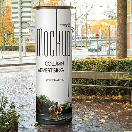 Free Column Advertising PSD MockUp in 4k