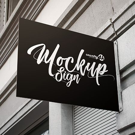 Free Sign PSD MockUp in 4k